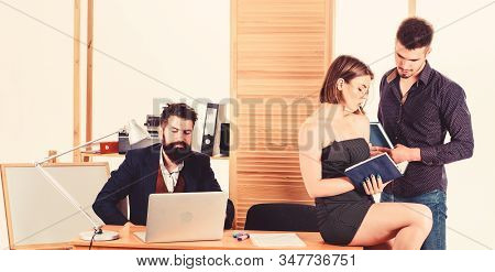 Office Atmosphere Concept. Sexual Attraction. Stimulate Sexual Desire. Woman Working In Mostly Male