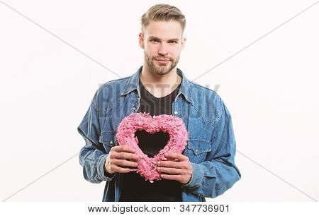 This Is For You. Romantic Greeting. Valentines Day Sales. Man With Decorative Heart. Date. Unshaved
