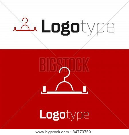 Red Hanger Wardrobe Icon Isolated On White Background. Cloakroom Icon. Clothes Service Symbol. Laund