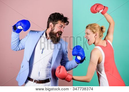 Conflict Concept. Family Quarrel. Boxers Fighting In Gloves. Domination Concept. Gender Battle. Gend