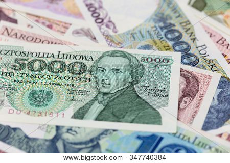 Old Polish banknotes before denomination, 5000 zloty bill with a portrait of Chopin