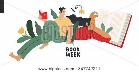 World Book Day Graphics - Book Week Events. Modern Flat Vector Concept Illustrations Of Reading Peop