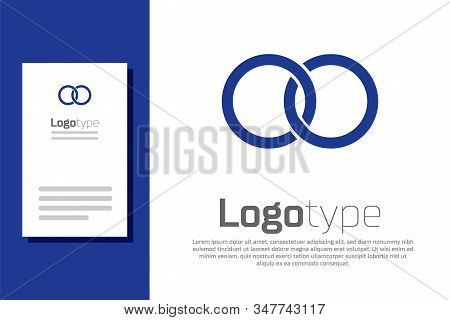 Blue Wedding Rings Icon Isolated On White Background. Bride And Groom Jewelery Sign. Marriage Icon.