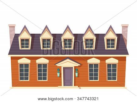 Urban Retro Colonial Style Building Cartoon Vector Illustration. Old Residential And Government Buil
