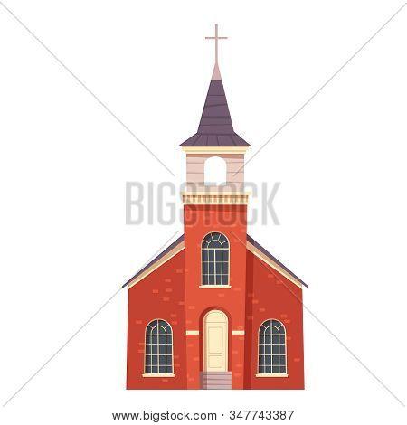 Urban Retro Colonial Style Church Building Cartoon Vector Illustration. Old Religious Building, Vict