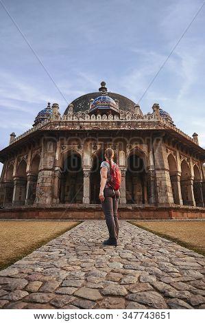Tourist Woman Is Walking To Isa Khans Tomb In Humayuns Tomb Complex, New Delhi, India.