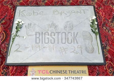 Kobe Bryant is the first athlete ever honored by the TCL Chinese Theatre and his handprint- footprint tablet will be on display to the public in the forecourt in Hollywood, USA on January 27, 2020.