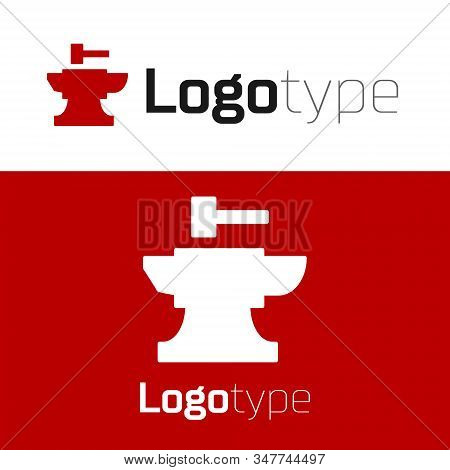 Red Anvil For Blacksmithing And Hammer Icon Isolated On White Background. Metal Forging. Forge Tool.