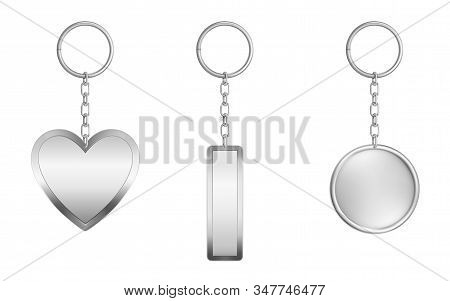 Keychains Set. Metal Round, Rectangular And Heart Shape Keyring Holders Isolated On White Background