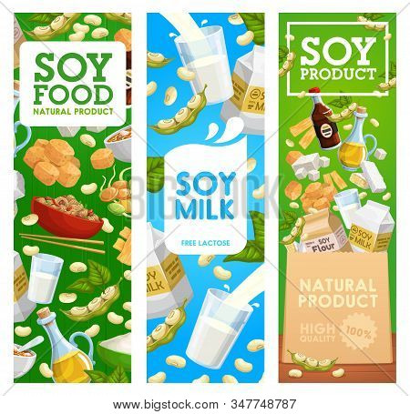 Soy Beans Food Vector Banners Of Soybeans, Milk Drink And Tofu, Oil, Soya And Miso Sauce, Tempeh, Ed