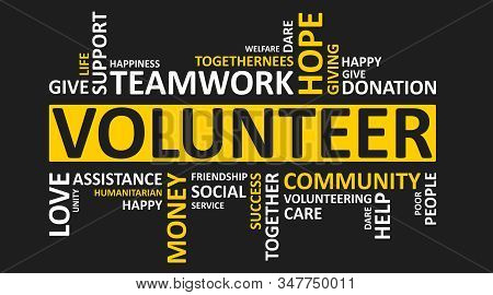 Volunteering Concept. Volunteer Wordcloud With Words Teamwork, Charity, Donation On Black Background