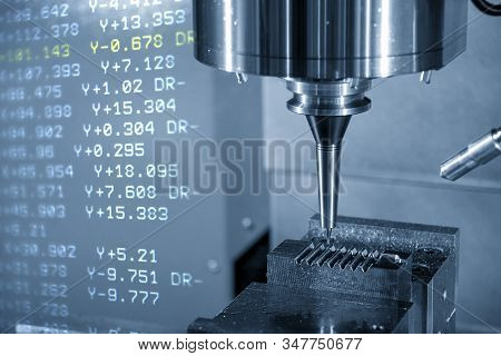 The Abstract Scene Of The G-code Data  And The Cnc Milling Machine Cutting The Injection Mold Parts