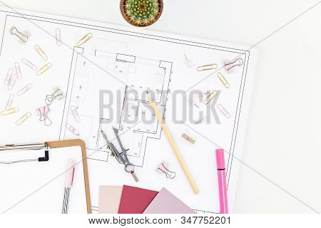 Blueprint Flat Project Plan And Office Supplies On Decorator Table Workspace. Swatches, Tools And Eq