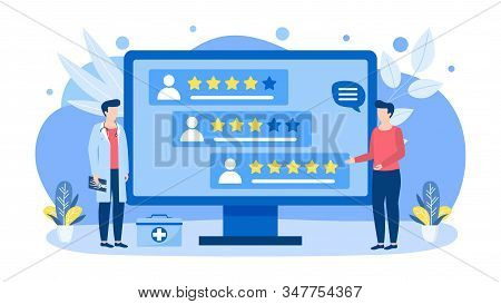 Doctors Choice By Rating Vector Illustration Concept Isolated Banner. Woman Searching For Doctor Acc