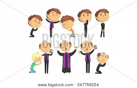 Man Priests Characters Collection, Catholic Preachers Blessing, Praying, Giving Speech Vector Illust