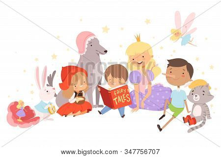 Little Boy Holding Opened Book Reading Fairy Tale With Fairy-tale Characters Sitting Behind Him Vect