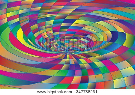 Tunnel Or Wormhole. Digital Wireframe Tunnel. 3d Tunnel Grid. Background Abstract Vector Image