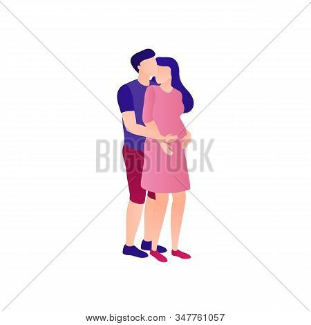 Husband Hugs Pregnant Wife Flat Isolated Illustration. Pregnant Woman Next To A Caring Husband. Happ