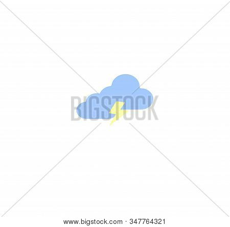 Flat Design Vector Icons - Weather Forecast. Cloudy Cloud With A Thunderstorm. Cloudy Day. Possible