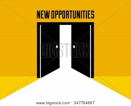 Half Open Secret Door New Opportunities Concept Vector Illustration, Fear Of The Unknown, Step Insid