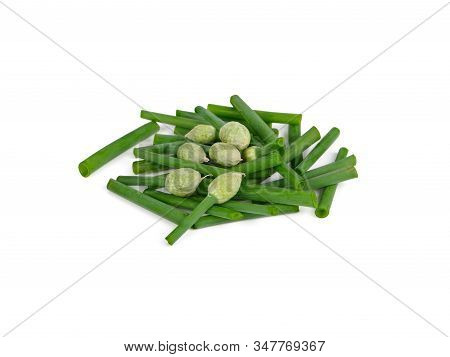 Pile Of Portion Cut Fresh Spring Onion Flower On White Background