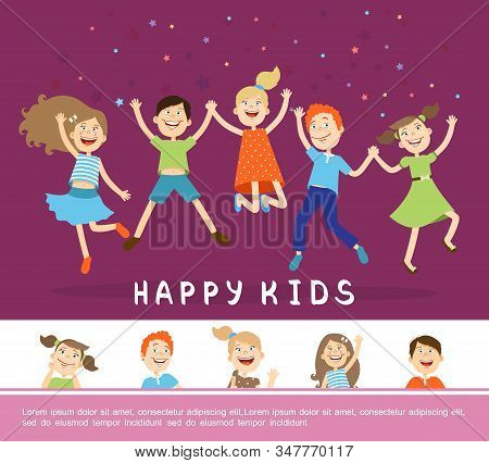 Joyful Happy Cute Children Concept With Funny Cheerful Jumping Kids In Flat Style Vector Illustratio