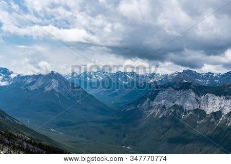 View Of Rocky Mountains From Mount Rundle, Alberta, Canada