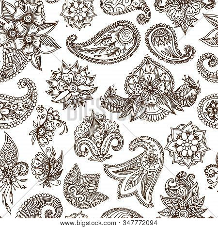 Mehendi Oriental Floral Ornament In Indian Mehndi Style On White Background, Seamless Vector Pattern