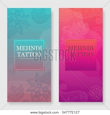 Mehendi Tattoo Oriental Floral Ornament In Indian Mehndi Style Banners Set, Vector Illustration. Abs