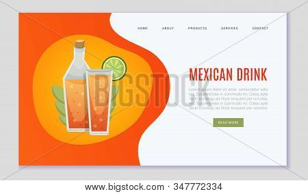 Mexican Drinks And Alcohol Pub Web Template On Mexica Orange Colors Vector Illustration. Mexican Clu