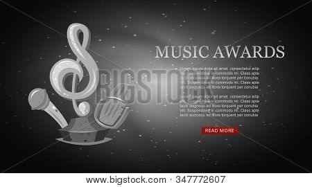 Cartoon Music Award Musical Note And Microphone Statuette Entertainment For Musician Winner Or Top A