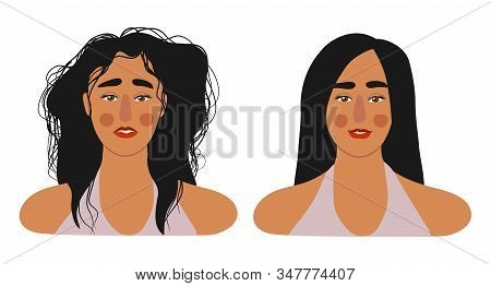 Faces Of Girls With Long Hair, With Shaggy And Combed. Isolated On White Flat Vector Illustration.