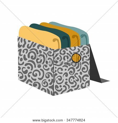 Box With Folded Sweater And Pullover For Organizing Order And Storage In The Closet Isolated On Whit