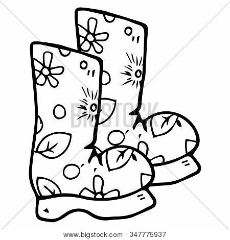 Garden Rubber Boots. Vector Illustration Of Rubber Boots. Hand Drawn Autumn Rubber Boots.
