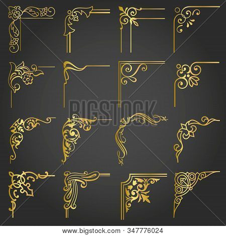 Gold Corners And Borders Vintage Frames Design Elements Set 5 Vector