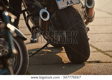 Motorcycle Wheel Closeup. Motorcycle Metal Parts. Biker Meeting In The City.