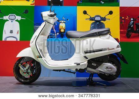 Bangkok, Thailand - January 29, 2020 : White Vespa Scooters Display At The Motor Expo In Thailand. V