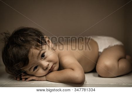 cute young boy playing and have a happy time