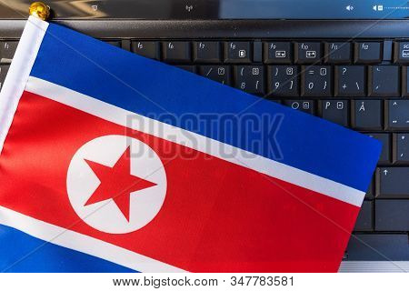 Flag Of North Korea On Computer, Laptop Keyboard