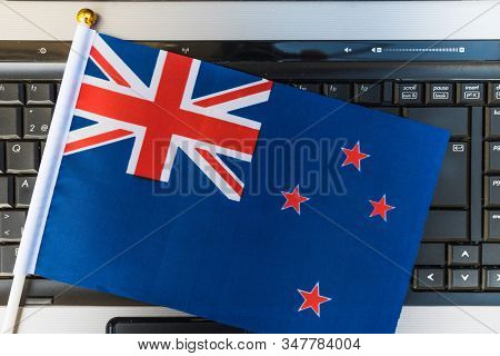 Flag Of New Zealand On Computer, Laptop Keyboard