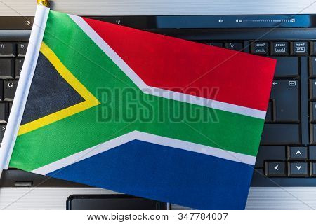 Flag Of South Africa On Computer, Laptop Keyboard