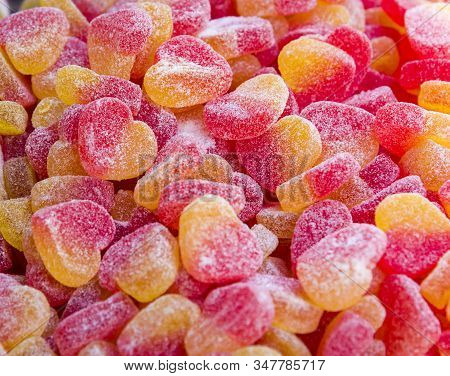 Colorful Sugary Candy Heart Shape Background Colored Jelly Candies.