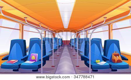 School Bus Interior With Blue Seats. Cartoon Empty Passenger Cabin Of Public City Transport Inside W