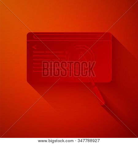 Paper Cut System Bug Concept Icon Isolated On Red Background. Code Bug Concept. Bug In The System. B