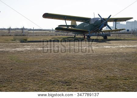 Old Airplanes. Green And Blue Corncob. Sports Plane Of The 19th Century. Until Now They Fly. Touch T
