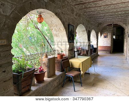 Deir Hajla, Israel - January 11, 2020: Gallery Inside The Orthodoxy Christianity  Monastery Of Geras