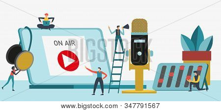 Flat Vector Illustration For Podcasting, Broadcasting, Straeming Or Online Radio. Equipment For Ente