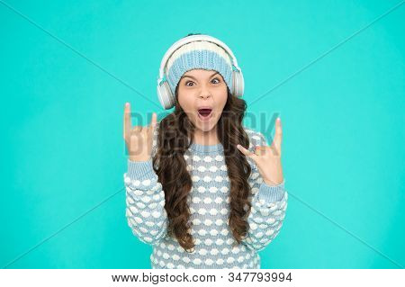 Create Feel-good Playlist. Music Mood. Little Child Knitted Sweater And Hat. Musical Suggestions For