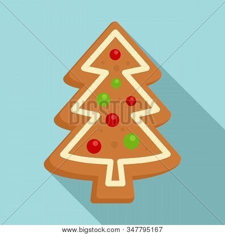 Gingerbread Xmas Tree Icon. Flat Illustration Of Gingerbread Xmas Tree Vector Icon For Web Design
