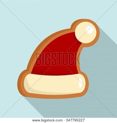 Gingerbread Santa Hat Icon. Flat Illustration Of Gingerbread Santa Hat Vector Icon For Web Design